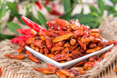 Portion of dried Chillies Stock Images