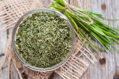 Portion of dried Chive (in a bowl) Royalty Free Stock Photos