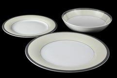 Portion för porslinbordsservisuppsättning. Fotografering för Bildbyråer
