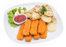 Portion of Fish Fingers with fried Potatoes Stock Photo
