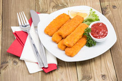 Portion of Fish Fingers on a plate Stock Photography