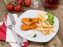 Portion of Fish Fingers with Remoulade Royalty Free Stock Photo