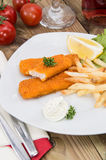 Portion of Fish Fingers with Remoulade Stock Photography