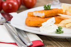 Portion of Fish Fingers with Remoulade Royalty Free Stock Image