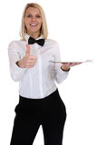 Portion för ung kvinna för servitrisuppassare kvinnlig blond med magasinresta Arkivbild