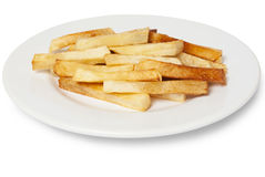 Portion of French fries on plate. Fast food Stock Image