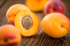 Portion of Fresh Apricots & x28;selective focus& x29;. Apricots on a vintage background as detailed close-up shot & x28;selective focus& x29 royalty free stock photo