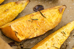 Portion of fresh baked sweet potato wedges Royalty Free Stock Photos