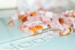 Portion of fresh diced ham close up Stock Photos