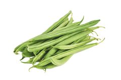 Portion of fresh green beans isolated on a white background. Portion of fresh green beans isolated on white background royalty free stock images