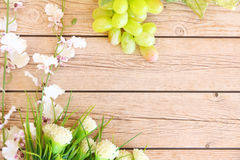 Portion of fresh Green Grapes. On vintage wooden background Stock Photography
