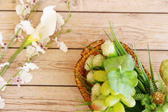Portion of fresh Green Grapes. On vintage wooden background Stock Photo