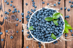 Portion of fresh harvested Blueberries Stock Photography