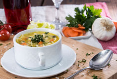 Portion of fresh made Soup Royalty Free Stock Photo
