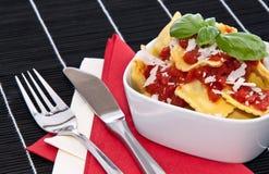 Portion of fresh Raviolis in a bowl Royalty Free Stock Photos