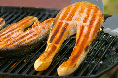 Portion of fresh salmon fillet cooced on a grill Stock Photos