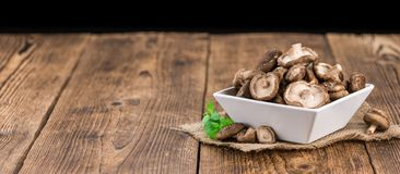 Portion of Raw Shiitake mushrooms, selective focus Royalty Free Stock Images
