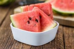 Portion of Fresh Watermelon selective focus Stock Photo