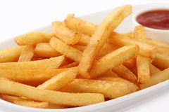 Portion of freshly made pommes frites stock photos