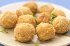 Close of portion of fried dumplings royalty free stock photography
