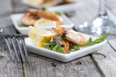 Portion of fried Prawns Stock Photography