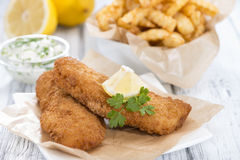Portion of Fried Salmon (with Chips) Royalty Free Stock Photography