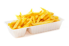 Portion of fries in disposable tray Stock Photos