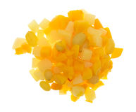 Portion of fruit cocktail isolated on a white background Stock Images