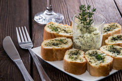 Portion of Garlic Bread Stock Photo