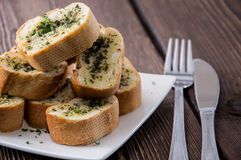Portion of Garlic Bread Royalty Free Stock Images