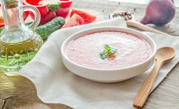 Portion of gazpacho with ingredients Stock Photos