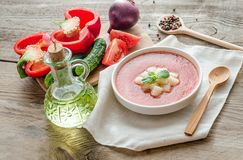 Portion of gazpacho with ingredients Stock Photo