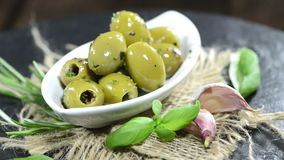 Portion of Green Olives (not loopable) Stock Images