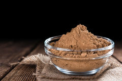 Portion of Guarana Powder. On dark wooden background (close-up shot stock photography
