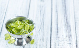 Portion of gummy candy (with lime taste) Royalty Free Stock Images