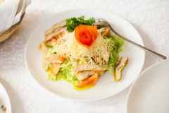 Portion of healthy salad made of leaves of fresh salad, cheese, Stock Image