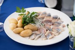 Portion of herring fish fillets with potato onion Stock Image