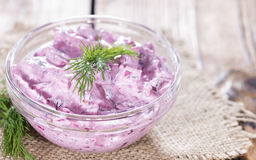 Portion of Herring Salad (with beet) Royalty Free Stock Photography