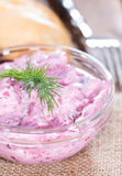 Portion of Herring Salad (with beet) Stock Images