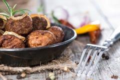 Portion of homemade Matballs in a pan Royalty Free Stock Photos