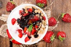 Portion of homemade Strawberry Yogurt Stock Photography