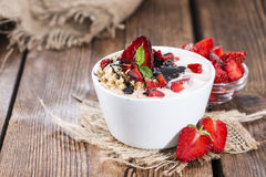 Portion of homemade Strawberry Yogurt Royalty Free Stock Images