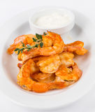 Portion hot shrimps on white plate Royalty Free Stock Photography