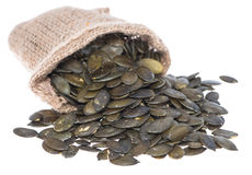 Portion of isolated Pumpkin Seeds Royalty Free Stock Photo