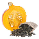 Portion of isolated Pumpkin Seeds Royalty Free Stock Photography