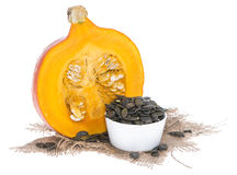 Portion of isolated Pumpkin Seeds Stock Photos