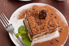 Portion of italian dessert tiramissu Stock Photo