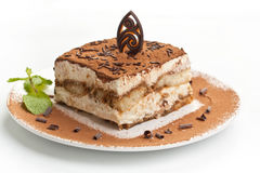Portion of italian dessert tiramissu Royalty Free Stock Images