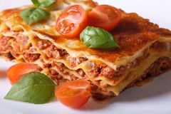 Portion of Italian lasagna closeup on a white plate. Horizontal Royalty Free Stock Photos