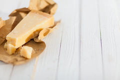 Portion of Italian parmesan cheese Royalty Free Stock Image